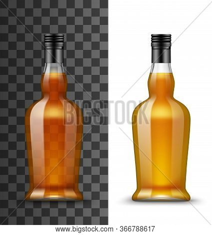 Alcohol Drink Glass Bottle Isolated Vector Mockup. Transparent Blank Curved Closed Bottle With Brown