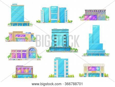 Hotel And Night Club Buildings Architecture Isolated Cartoon Vector Icons. Luxury Apart Hotels, City