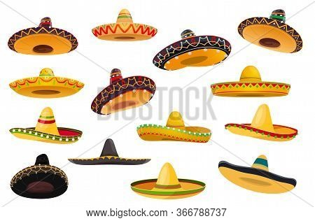 Mexican Sombrero Hat Isolated Objects Of Vector Fiesta Party And Cinco De Mayo Holiday Design. Maria
