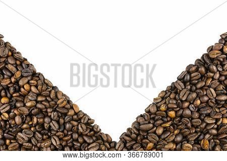 Background Made Of Fresh Roasted Coffee Beans Lying Flat On A White Background With Copy Space, Fill