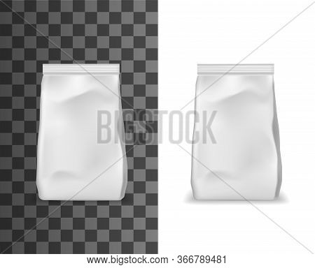 Realistic Package, Foil, Paper Or Plastic Sachet Pouches With Valve And Seal Isolated 3d Vector Mock