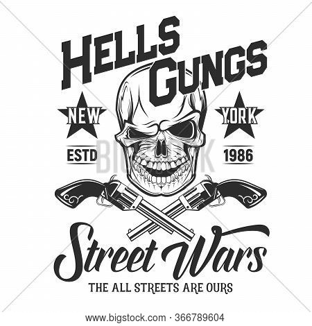 Skull With Guns T-shirt Print Mockup. Vector Mascot Death A Laughing Head With Crossed Guns. Vector