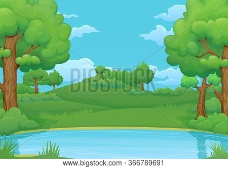 Summer, Spring Day Vector Illustration. Lake Or River With Lush Green Trees And Bushes. Green Hills,