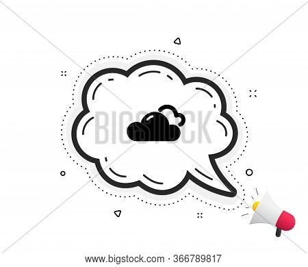 Cloudy Weather Icon. Quote Speech Bubble. Clouds Sign. Sky Symbol. Quotation Marks. Classic Cloudy W
