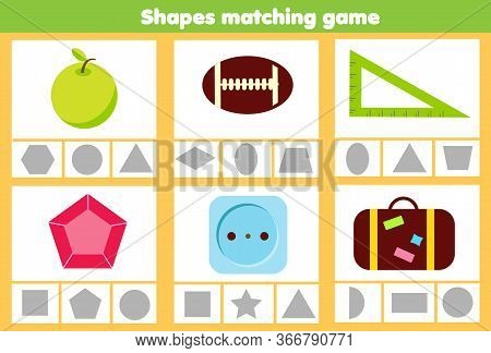 Matching Children Educational Game. Match Objects And Geometrci Shapes. Activity For Kids And Toddle