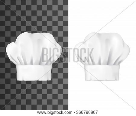 Chef Hat, White Toque Front View Isolated Vector Mockup. Chief Cap Working Uniform Of Restaurant Sta
