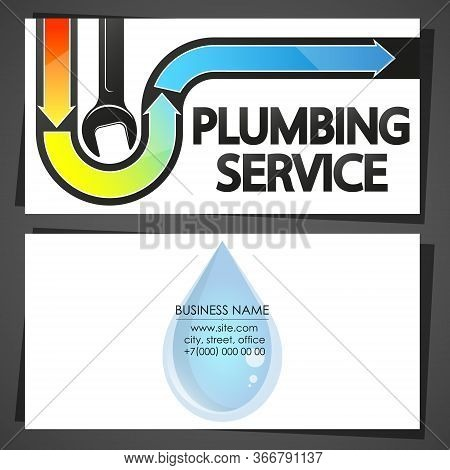 Service And Repair Of Plumbing And Water Systems Business Card Concept
