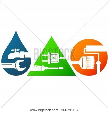 Repair And Service Symbol For Business Plumbing Electricity And Paint