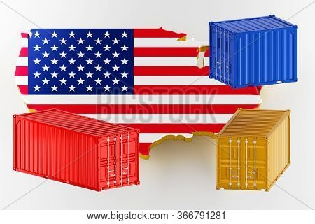 3d Map Of Usa. Freight Shipping In Containers. Export From The Country In Containers. 3d Rendering