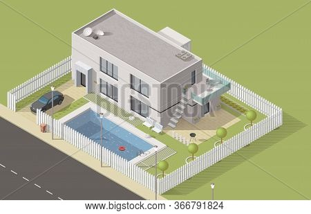 Isometric House 3d Cottage Building. Vector Bungalow, Villa Or Mansion Design With Green Yard And Sw