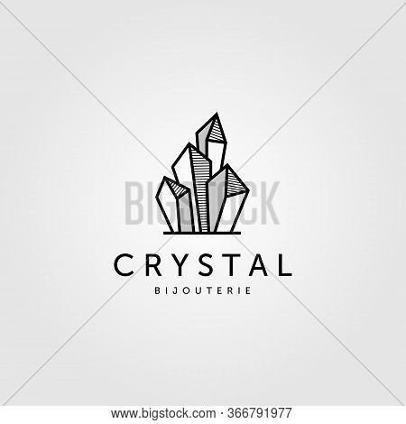Crystal Rock Stone Logo Vector Jewelry Illustration Design