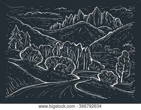 Engraving Style. Landscape Sketch. Dolomites Mountains, Italy, Europe. Hand Drawn Vector Illustratio