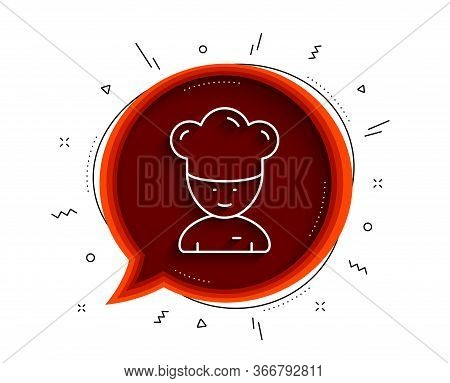 Cooking Chef Line Icon. Chat Bubble With Shadow. Sous-chef Sign. Food Preparation Symbol. Thin Line