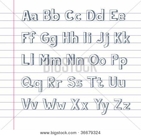 Hand Drawn Alphabet On Lined Paper