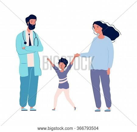Family Doctor. Pediatrician Hospital Happy Boy Mother. Medical Center Visiting, Patient Health Preve