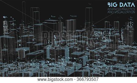 3d Big Data In Modern City. Abstract Social Information Sorting Visualization. Human Connections Or