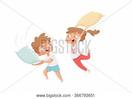 Pillows Battle. Happy Children Have Fun. Free Time, Kids Playing Together. Girl And Boy In Pajamas V
