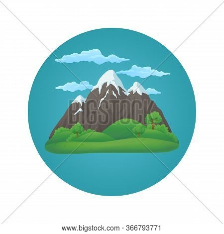 Summer, Spring Day Vector Icon. Broad Snowy Mountain With Three Peaks With Green Hills, Lush Green T