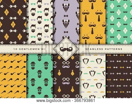 Gentlemen Patterns. Textile Seamless Backgrounds For Male Clothes Fashioned Fabric Textures With Geo