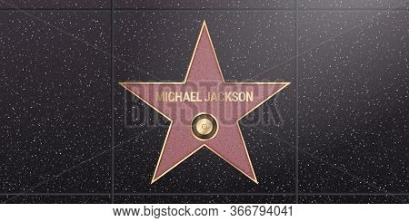 Warsaw, Poland May 17, 2020. Hollywood Star On Celebrity Walk Of Fame Boulevard. Michael Jackson Ico
