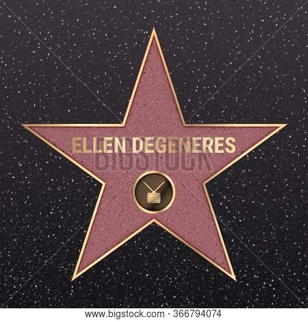 Warsaw, Poland, May 17, 2020. Hollywood Star On Celebrity Walk Of Fame Boulevard. Ellen Degeneres Ic
