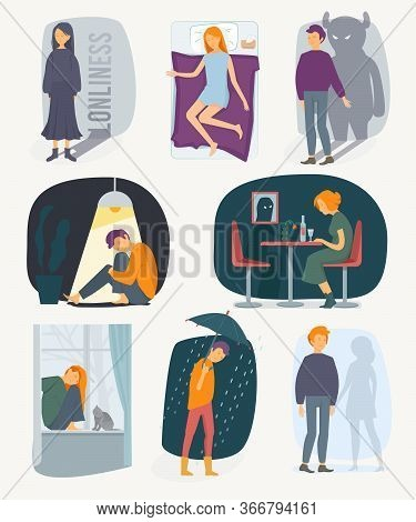 Loneliness People. Depressed Rain Feeling Of Fearfully Stressed Characters Vector People Collection.