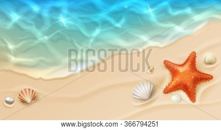 Sea Coast With Sand, Ocean Wave, Shells And Star Fish Top View. Cartoon Vector Beach With Sandy Seas