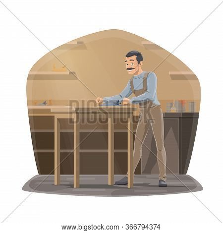 Carpenter With Plane Working In Workshop, Carpentry Woodwork. Joiner Man Using A Carpentry Equipment