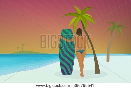 Wakeboarding Sport Vector Illustration. Young Sexy Topless Sporty Girl Hugs A Wakeboard While Standi
