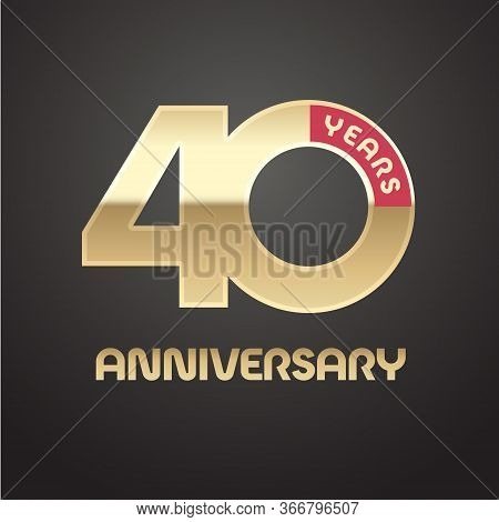 40 Years Anniversary Vector Logo, Icon. Graphic Symbol With Golden Number