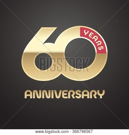 60 Years Anniversary Vector Logo, Icon. Graphic Symbol With Golden Number