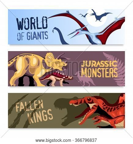 Dinosaurs Horizontal Banners Set Of Cartoon Compositions With Flying Giants And Jurassic Monsters Of