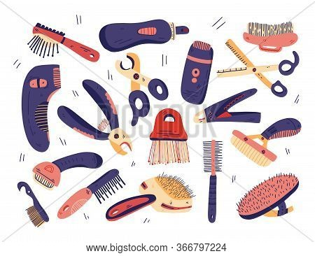 Flat Grooming Tools Set Vector. Dog And Cat Care Equipment Elements For Pet Shop, Salon. Hand Drawn