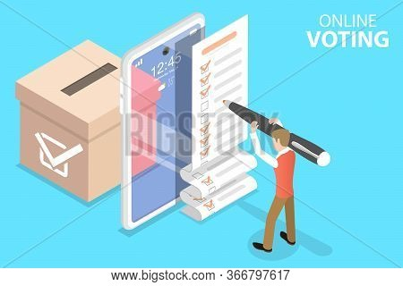 3d Isometric Flat Vector Concept Of Online Voting Mobile App, E-voting.