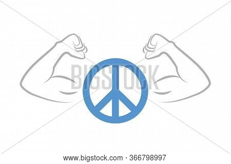 Strong Peace Symbol With Muscular Arms Vector Illustration Eps10