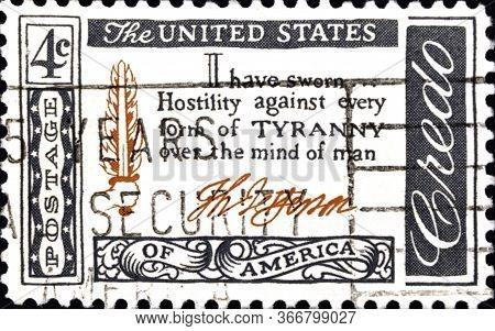 02 08 2020 Divnoe Stavropol Krai Russia The Postage Stamp Usa 1960 Quotations - The American Credo T