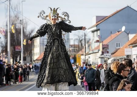 Velika Gorica, Croatia - February 22, 2020 : Carnival Parade Passes On The Main Street Of Velika Gor