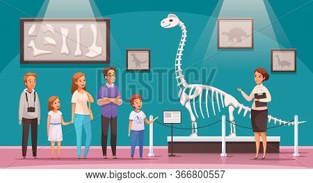 Dinosaurs Cartoon Composition With View Of Exhibition Hall With Dinosaur Skeleton Bones And Characte