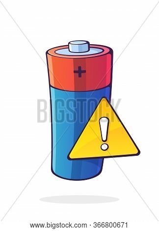 Alkaline Electric Battery With Yellow Warning Sign And Exclamation Mark Inside. Low Accumulator Warn