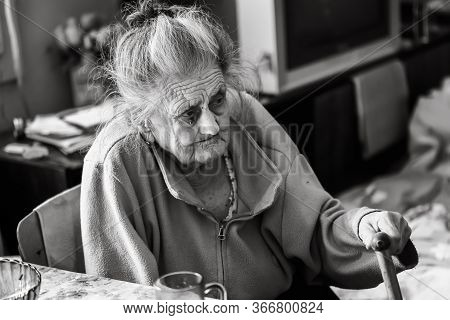 Very Old Tired Woman
