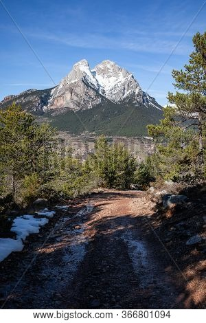 Peak Of Pedraforca In Catalonia Snowed With Clear Sky