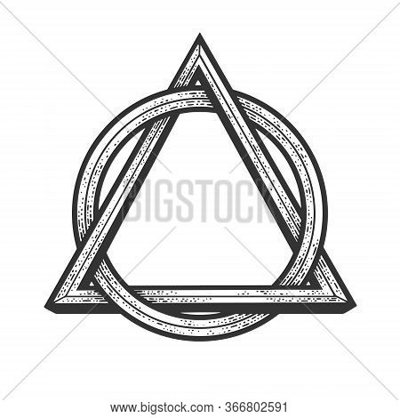 Circle In Triangle Abstract Geometric Tattoo Symbol Sketch Engraving Vector Illustration. T-shirt Ap