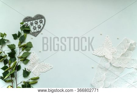 Flatlay Mockup Composition With Copyspace, Lace, Textile Butterflies In Vintage Style, Pearls, Young