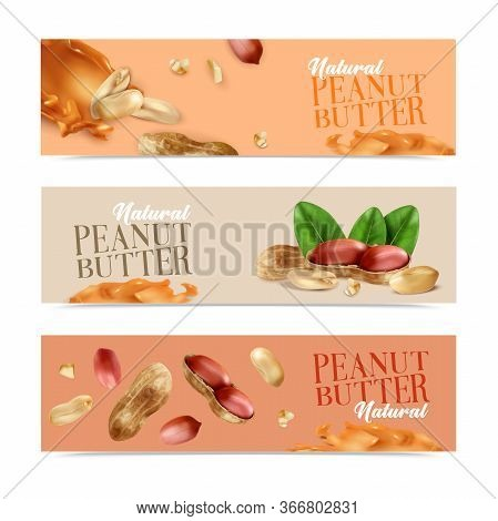 Natural Peanut Butter Horizontal Banners With Peeled Nuts And Nuts In Shell Realistic Vector Illustr