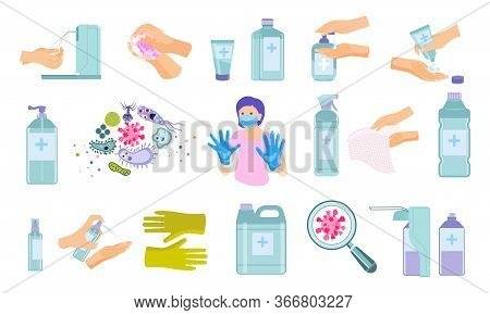 Hand Hygiene Flat Icons Collection With Disinfection Product Images Bacteria Microbes And Protecting