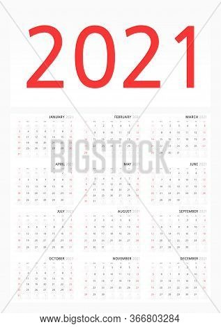 Wall Calendar Template For 2021 In A Classic Minimalist Style. Week Starts On Sunday. Monthly Calend