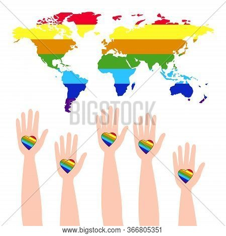 Lgbt support, fight for gay and lesbian rights, helping hands and hearts, rainbow colors. Rainbow lgbt spectrum flag of Gay Pride Movement, homosexuality emblem. The pride flag representing LGBT pride. LGBT rights concept.