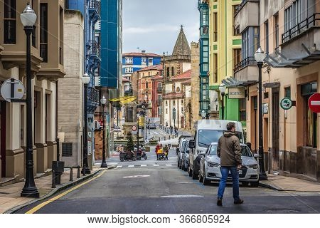 Gijon, Spain - January 25, 2019: Marques Squre Seen From Narrow Street In Historic Part Of Gijon Cit