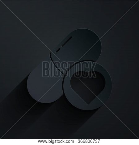 Paper Cut Pills For Potency, Aphrodisiac Icon Isolated On Black Background. Sex Pills For Men And Wo