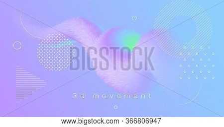 3d Vibrant Background. Pastel Bright Banner. Vector Geometric Wallpaper. Fluid Gradient Motion. Flow